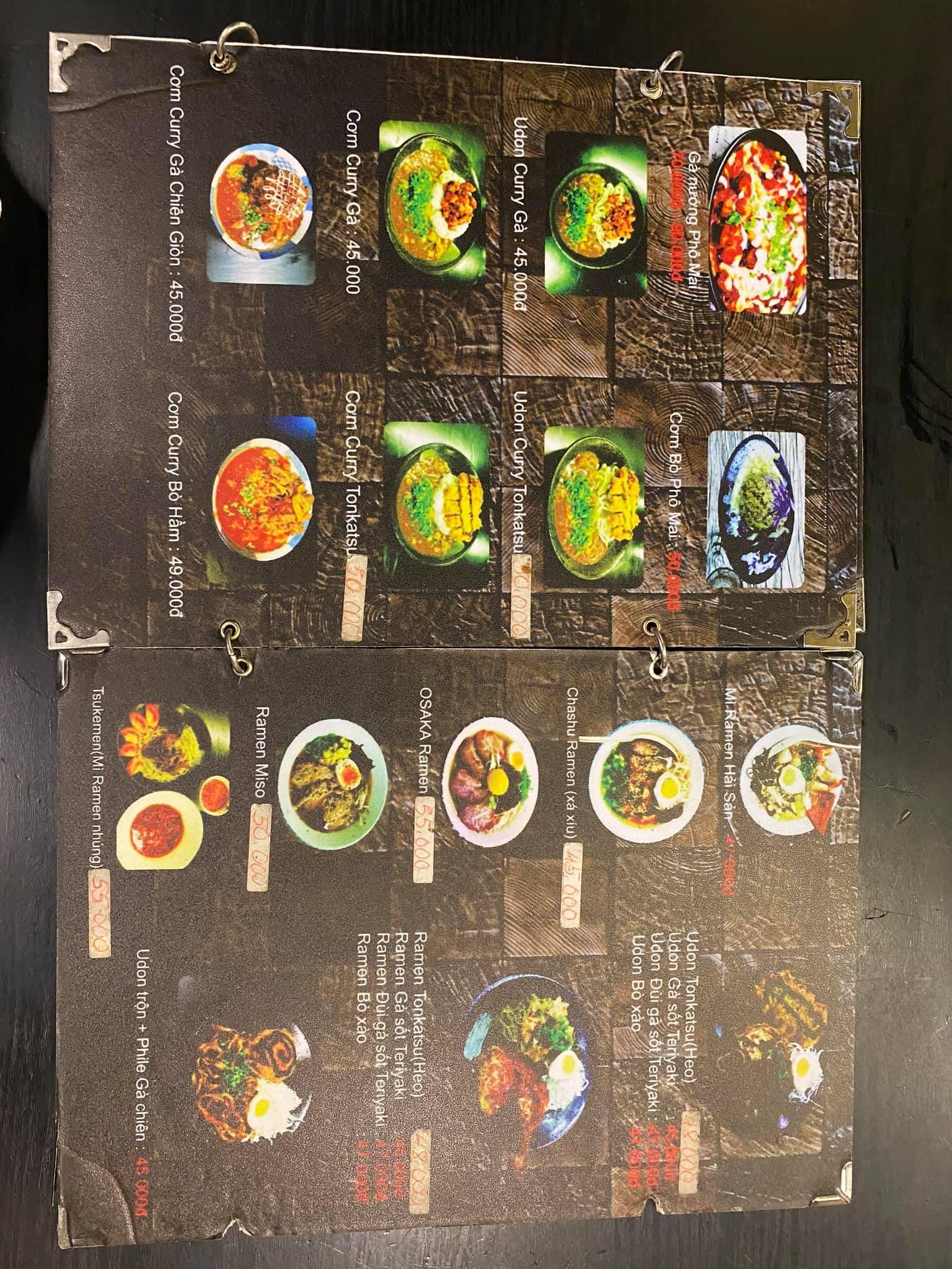 menu món Nhật tại quán