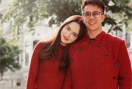 Hương Giang và Matt Liu diện áo dài đỏ bên nhau ngày đầu năm mới