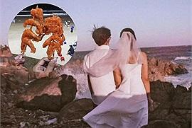 Đi Vũng Tàu chụp ảnh cưới gặp bà bán hàng rong giả vờ xem chỉ tay miễn phí rồi bắt ép mua 3 xiên tôm đầy cát