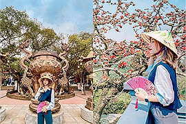 """Chùa Tam Chúc đông đúc quá, ta về chùa Hương một ngày để xin lộc đầu năm rồi ngắm hoa gạo nở rộ """"đẹp động lòng người"""""""