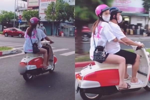 Đi dạo bằng xe máy khiến Nhã Phương rất vui