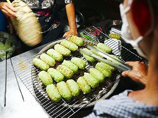 chuối lá nếp nướng ở Sài Gòn