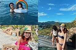 """Hotmom Mi Vân đưa cả nhà đi tránh nóng ở """"vịnh Hạ Long trên núi"""", resort này là chỗ nào mà nhìn quen thế nhỉ?"""