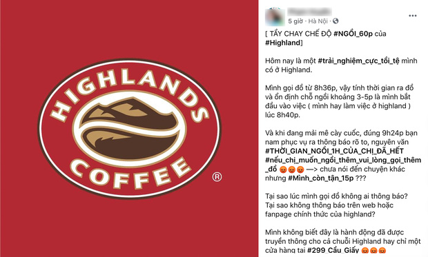 highlands coffee đuổi khách