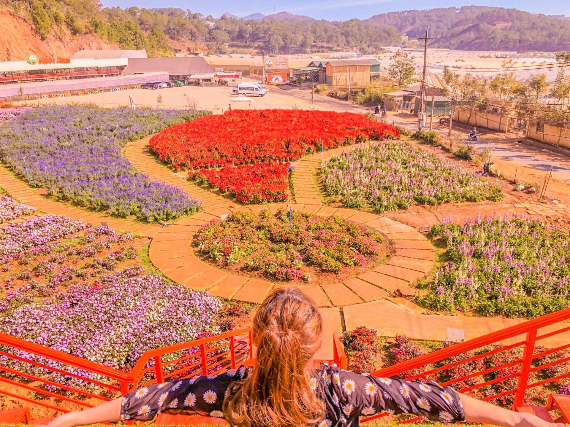 Nông trại còn sở hữu một vườn hoa cực khủng
