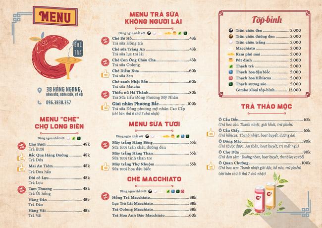 menu tại góc trà phố cổ