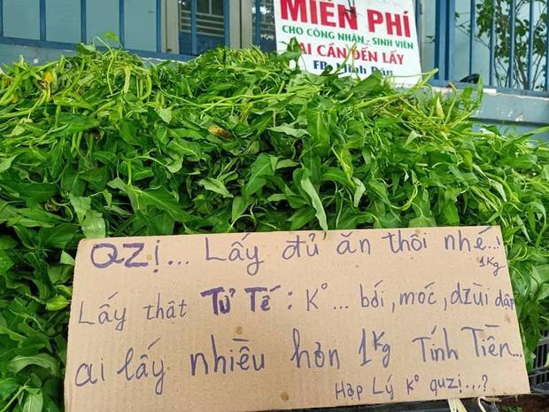 anh bán rau miễn phí cho người nghèo ở Đồng Nai