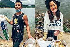 Cặp vợ chồng trẻ tình nguyện dọn rác hồ Tuyền Lâm, hành động đáng quý truyền cảm hứng