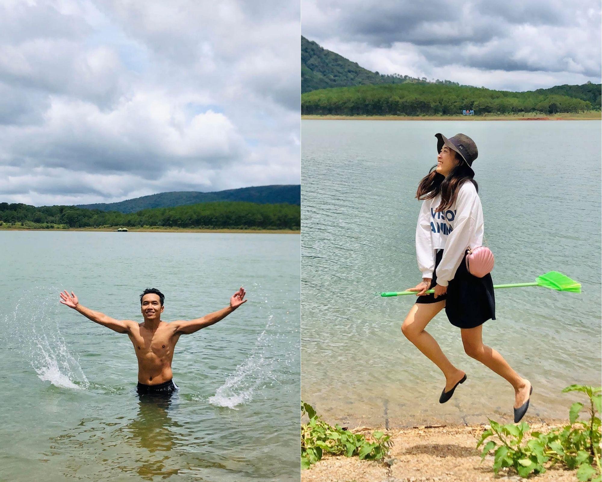 cặp vợ chồng trẻ tình nguyện dọn rác hồ Tuyền Lâm