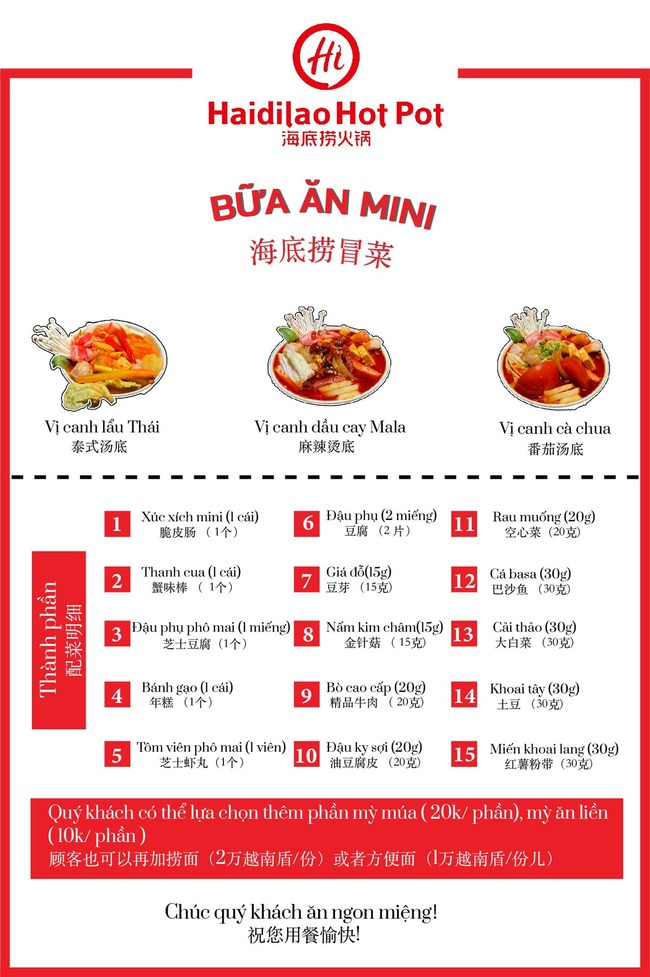 bữa ăn mini lẩu haidilao 60k