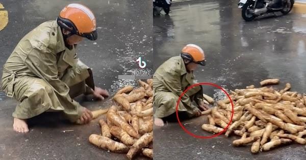 cụ già rửa củ cải dưới trời mưa gửi Sài Gòn