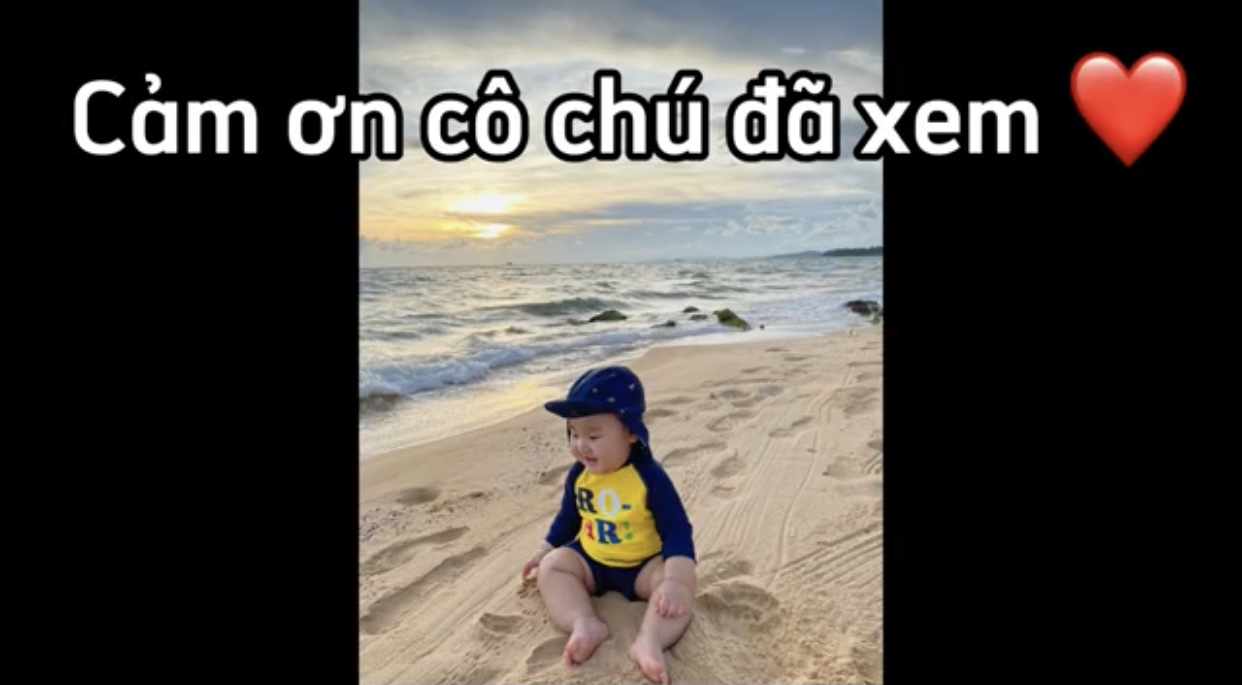 Bo thúi 8 tháng tuổi đi biển với mẹ Hòa minzy