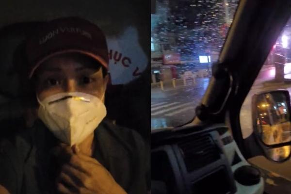Nữ nghệ sĩ di chuyển trên chiếc xe thứ 4 mang oxy đến cho bệnh nhân dù thời tiết không ủng hộ