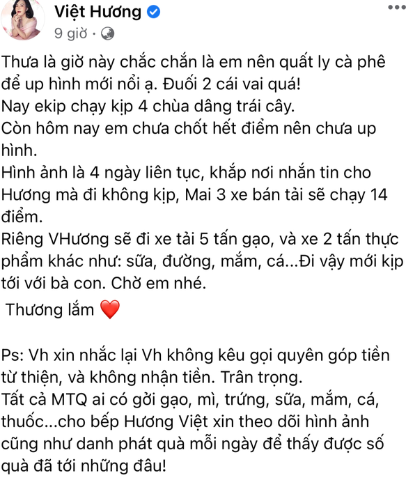 Việt Hương không kêu gọi từ thiện vẫn có sao kê