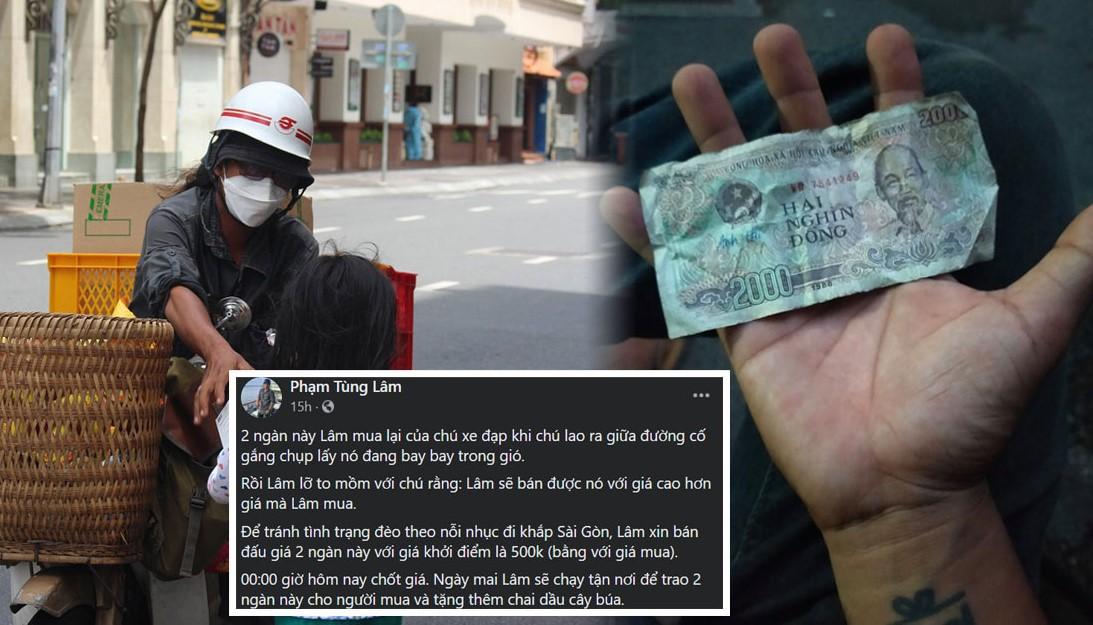 """Anh chàng """"nhà bán vàng"""" Lâm Ống Húc: mua lại tờ tiền 2 ngàn đồng của ông cụ và đấu giá được 25 triệu để ủng hộ bà con"""