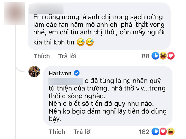 Hari Won giải thích lý do Trấn Thành che một phần sao kê bằng giấy
