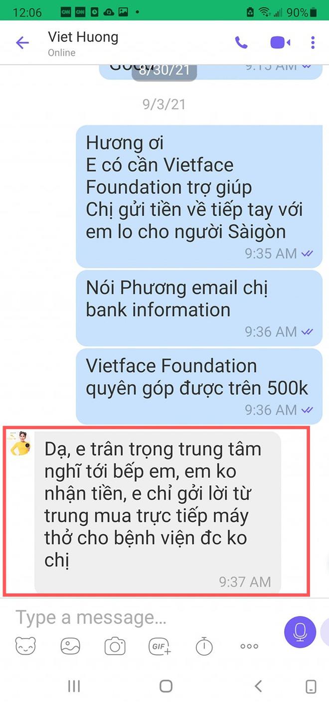 Đoạn tin nhắn cho thấy Việt Hương chỉ kêu gọi thiết bị y tế chứ không nhận hỗ trợ tiền mặt