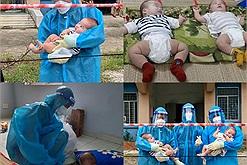 Hai em bé sơ sinh bị bỏ rơi lại dương tính với covid được các y bác sĩ, tình nguyện viên che chở, chăm sóc tận tình