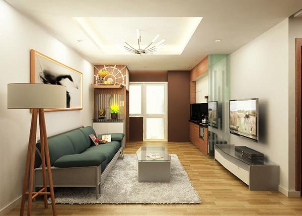 thiết kế nội thất nhà cấp 4 gam màu nền nã