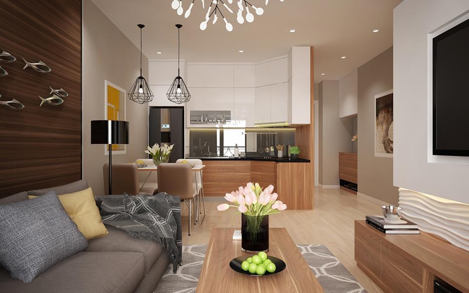 thiết kế nhà cấp 4 phòng khách liền bếp