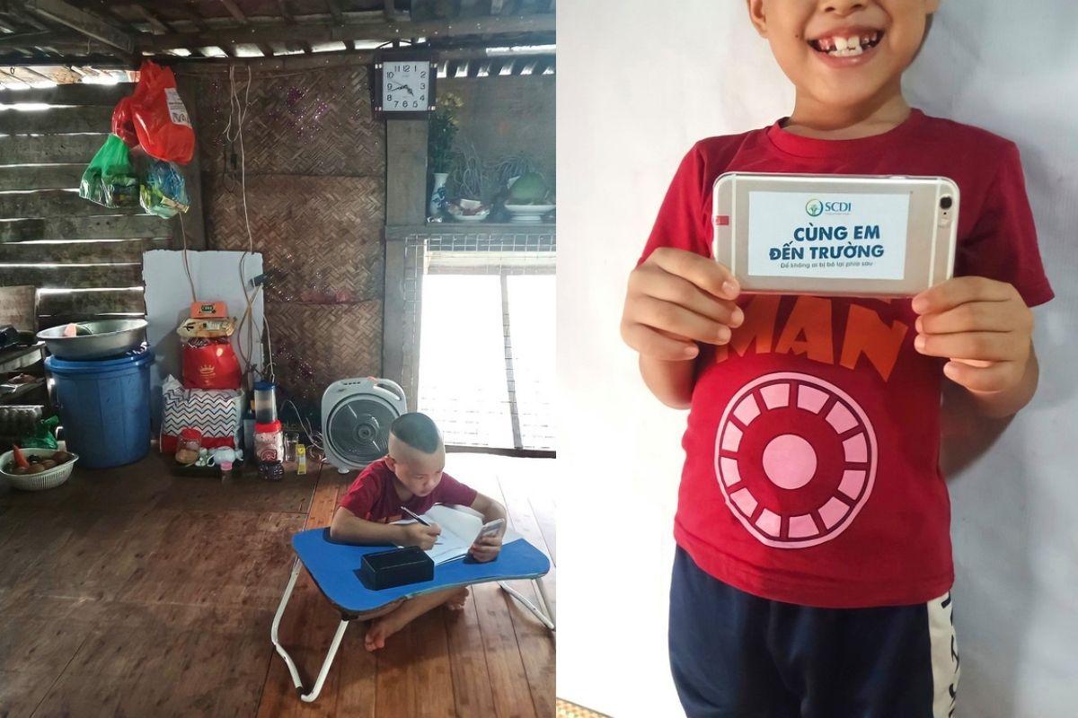 cậu bé nghèo nhận được điện thoại học trực tuyến từ một người bạn nhỏ