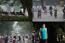 Sau khi được phép ra ngoài tập thể dục, người dân Hà Nội nô nức chạy bộ, đạp xe trên các con phố xung quanh Hồ Gươm