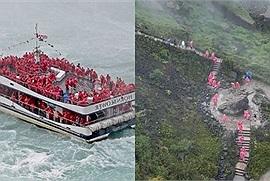 Hàng trăm người mặc đồ đỏ xuất hiện tại thác Niagara, phải chăng Squid Game là có thật?