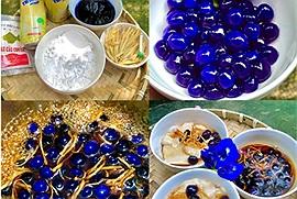 Cách làm tàu hũ hoa đậu biếc trân châu xanh tím đẹp mê vô cùng đơn giản bằng sữa đậu nành