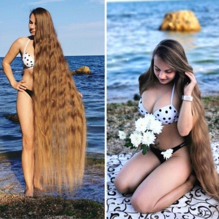 Những bức ảnh đi biển độc đáo của người phụ nữ gần 30 năm không cắt tóc, trông như nàng tiên cá